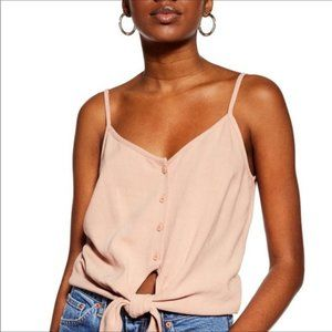 TopShop Pink Polly Tie Front Linen Cami Tank Top
